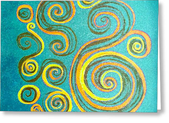 Rotate Paintings Greeting Cards - Swirls On Blue Greeting Card by Barbara Moignard
