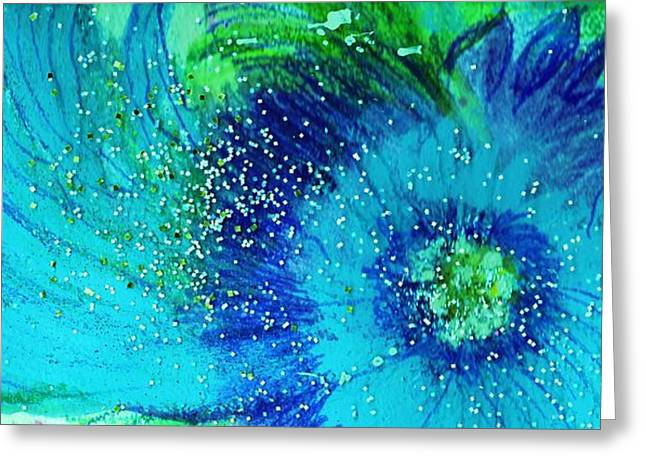 Swirly Blues Greeting Card by Anne-Elizabeth Whiteway