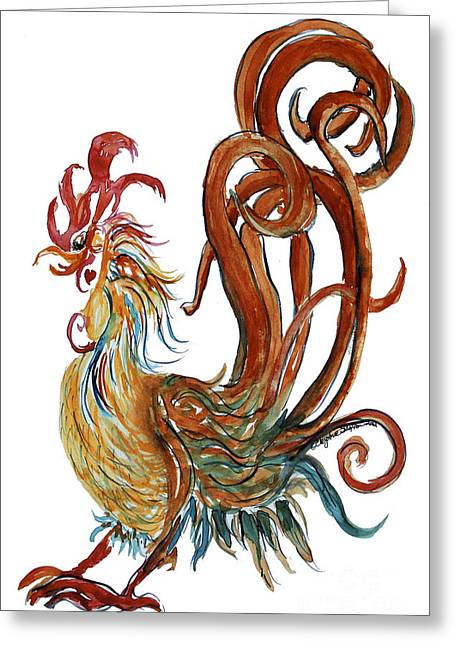 Swirly Heart Rooster Greeting Card by CheyAnne Sexton