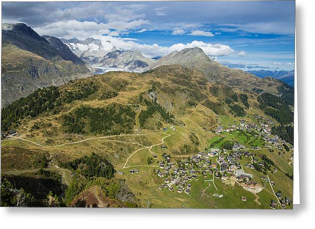 Swiss Alps Great View Towards Riederalp Aletsch Forest And Aletsch Glacier Greeting Card by Matthias Hauser