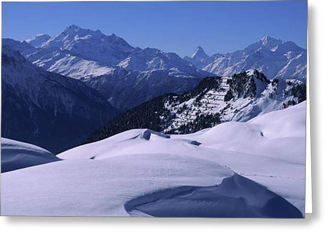 Swiss Alps In Winter, Switzerland Greeting Card by Panoramic Images