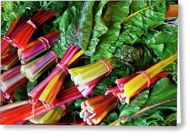Swiss Chard At The Community Supported Greeting Card by Jerry and Marcy Monkman
