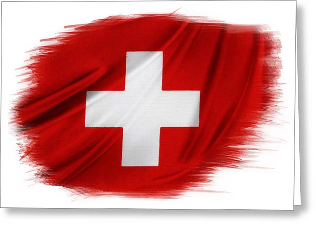 Swiss Flag Greeting Card by Les Cunliffe
