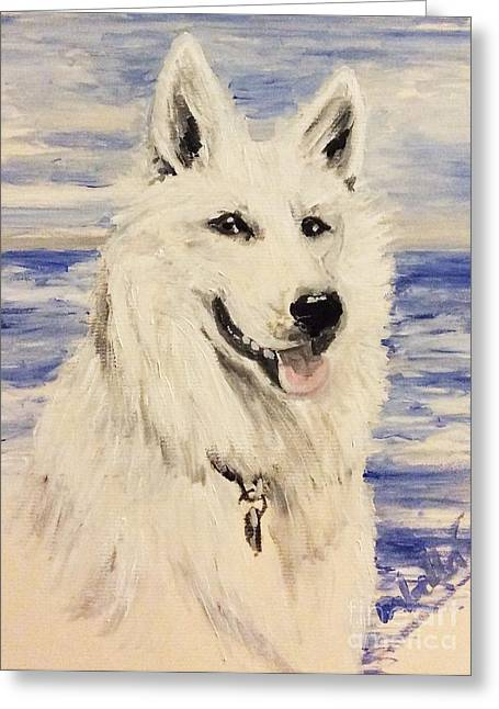 Swiss Shepherd Greeting Card by Isabella F Abbie Shores FRSA