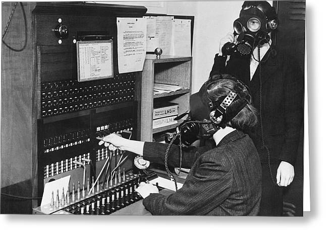 Switchboard Gas Masks Greeting Card by Underwood Archives