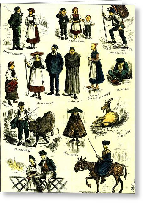 Switzerland Swiss Folk In 1883 Greeting Card