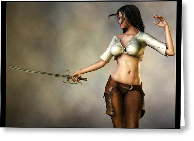 Greeting Card featuring the digital art Sword Girl by Kaylee Mason