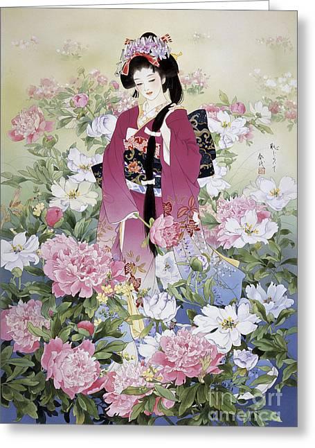 Syakuyaku Greeting Card by Haruyo Morita