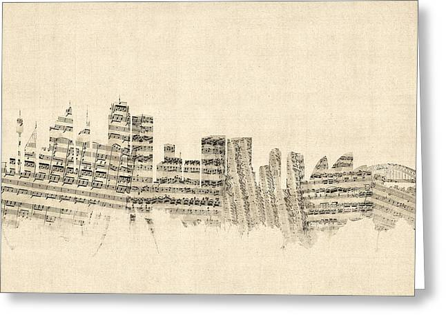 Sydney Australia Skyline Sheet Music Cityscape Greeting Card