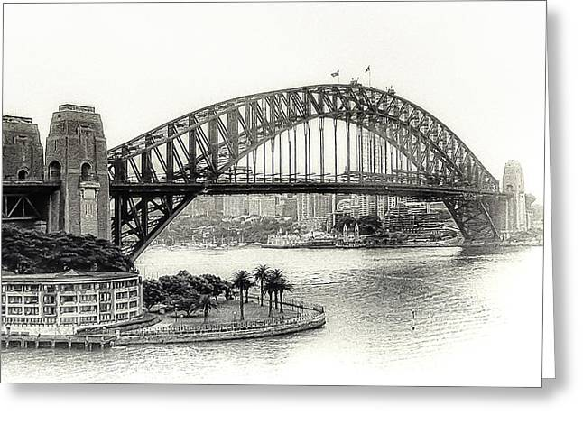 Sydney Bridge In Black And White Greeting Card by Julie Palencia