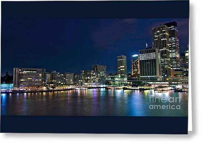 Sydney Cityscape By Night Greeting Card