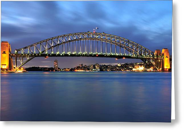 Sydney Harbour Bridge At Twilight Greeting Card by Photography  By Sai
