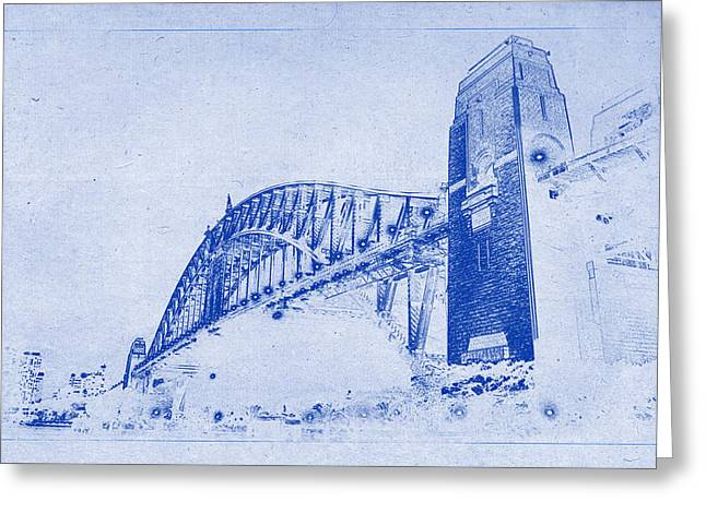 Sydney Harbour Bridge Blueprint Greeting Card by Kaleidoscopik Photography