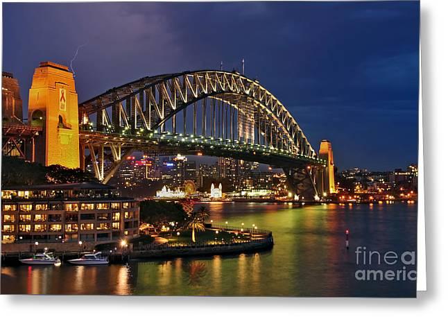 Sydney Harbour Bridge By Night Greeting Card