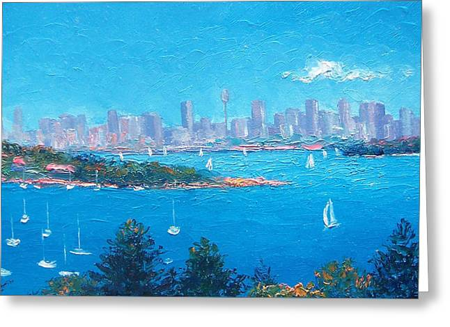 Sydney Harbour Sailing Greeting Card by Jan Matson