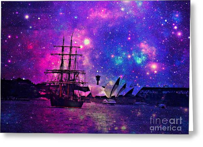 Sydney Harbour Through Time And Space Greeting Card by Leanne Seymour