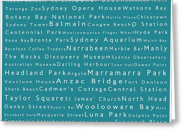 Sydney In Words Teal Greeting Card by Sabine Jacobs