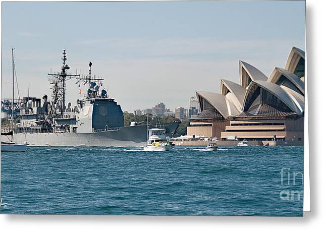 Sydney Opera House And Uss Chosin. Greeting Card by Geoff Childs