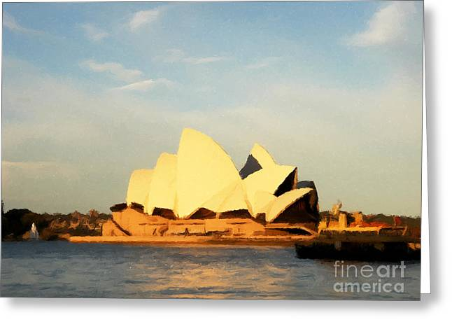 Sydney Opera House Painting Greeting Card by Pixel Chimp