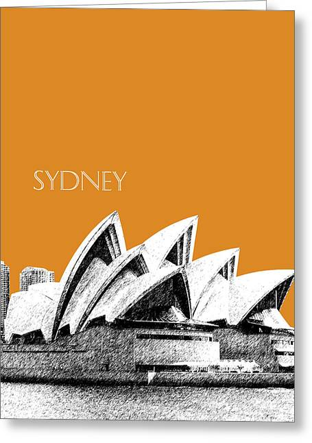 Sydney Skyline 3  Opera House - Dark Orange Greeting Card