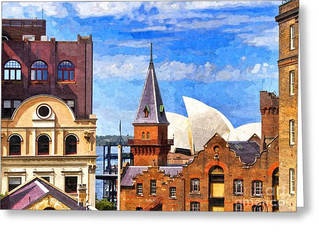 Sydney The Rocks And Opera House Greeting Card by Colin and Linda McKie