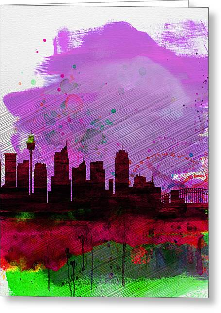 Sydney Watercolor Skyline 2 Greeting Card