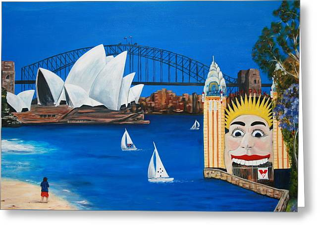Sydneyscape - Featuring Luna Park  Greeting Card