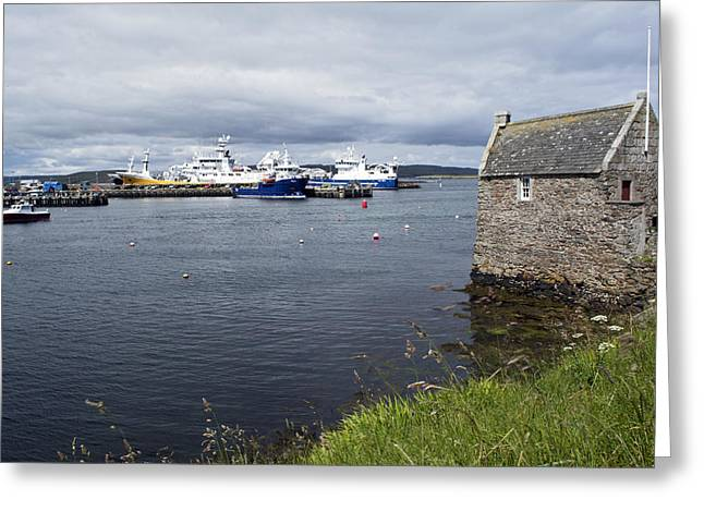 Symbister Harbour Greeting Card by Steve Watson