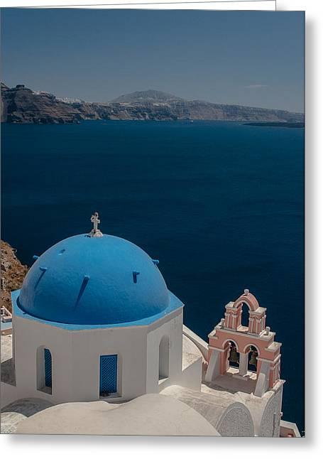 Symbol Of Santorini Greeting Card by Sergey Simanovsky
