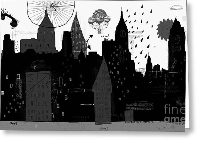 Symbolic Image Of A Megacity With A Greeting Card