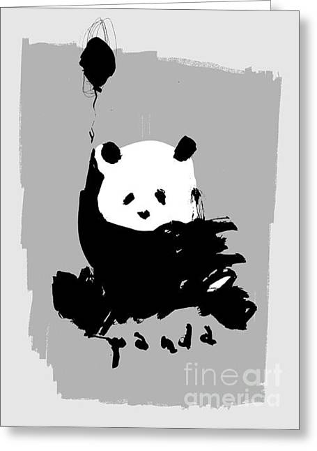 Symbolic Image Of A Panda On A Gray Greeting Card by Dmitriip