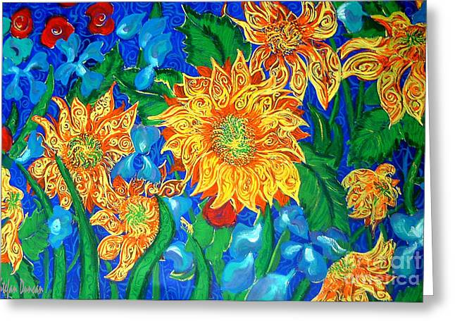 Symphony Of Sunflowers Greeting Card