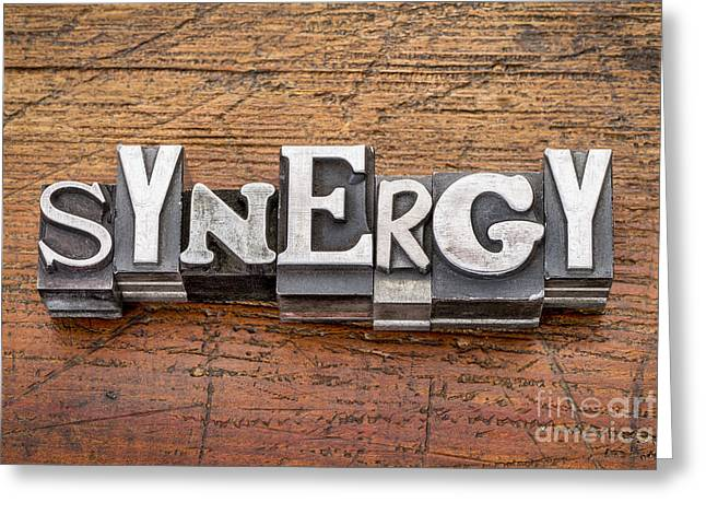 Synergy Word In Metal Type Greeting Card