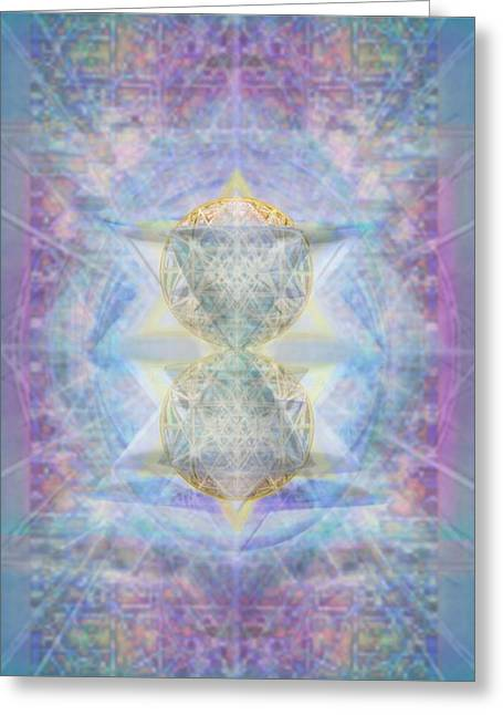 Synthecentered Doublestar Chalice In Blueaurayed Multivortexes On Tapestry Lg Greeting Card by Christopher Pringer
