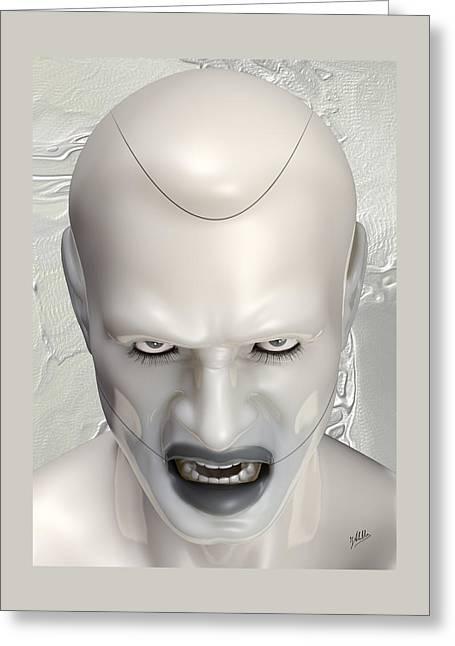 White Terminator Greeting Card by Quim Abella