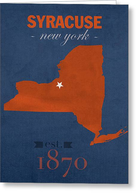 Syracuse University New York Orange College Town State Map Poster Series No 102 Greeting Card