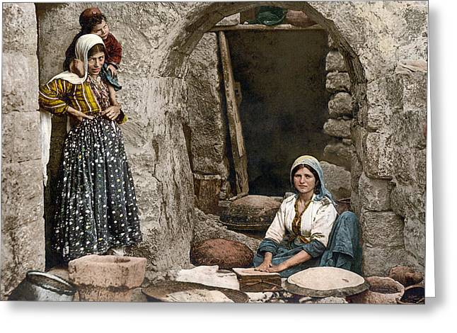 Syria Bread-making, C1895 Greeting Card by Granger