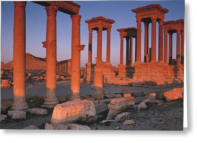 Syria, The Great Tetra Pylon At Palmyra Greeting Card by Steve Roxbury