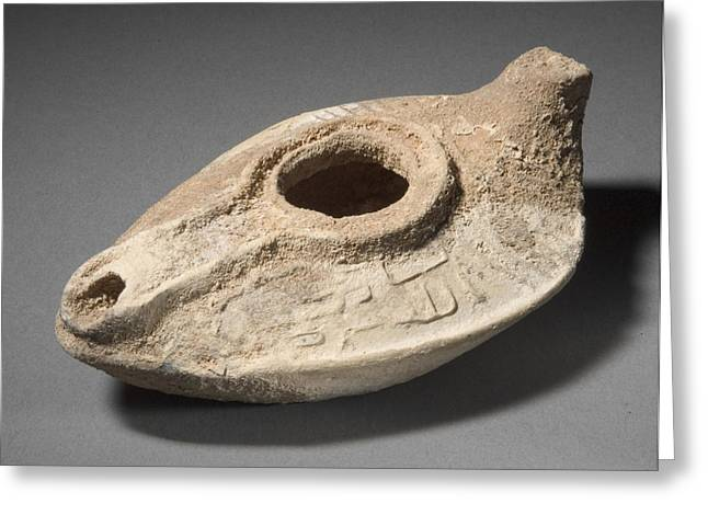 Syrian Oil Lamp, 8th Century Greeting Card by Los Angeles County Museum