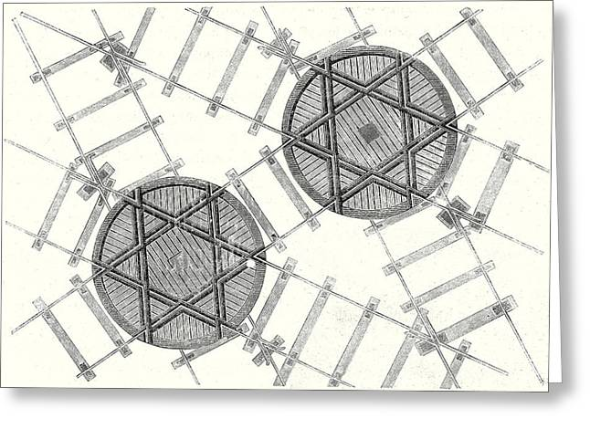 System Of Hexagonal Turning Plates For Parallel Tracks Greeting Card