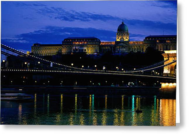 Szechenyi Bridge Royal Palace Budapest Greeting Card by Panoramic Images