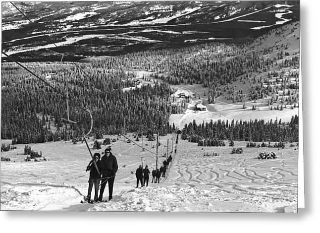 T-bar Ski Lift At Jasper Park Greeting Card by Underwood Archives