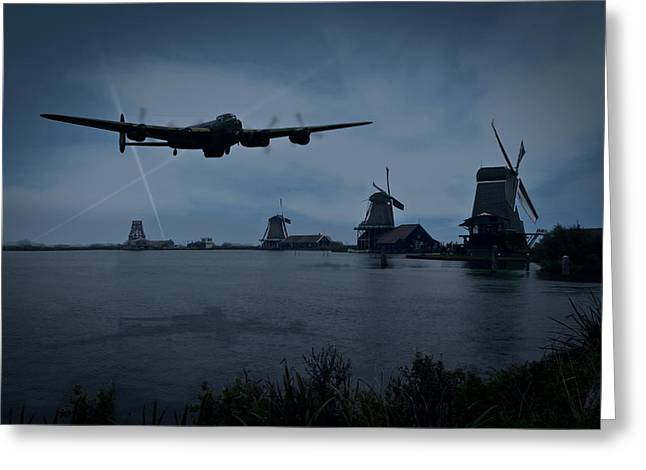 Dambusters Lancaster T For Tommy En Route To The Sorpe Greeting Card by Gary Eason