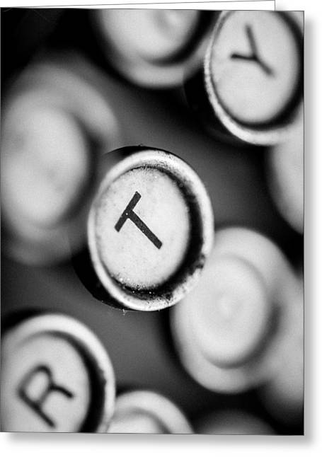 T Is For Typewriter Greeting Card by Jon Woodhams