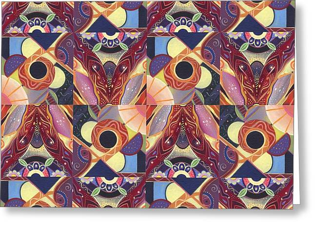 T J O D Tile Variations 12 Greeting Card by Helena Tiainen