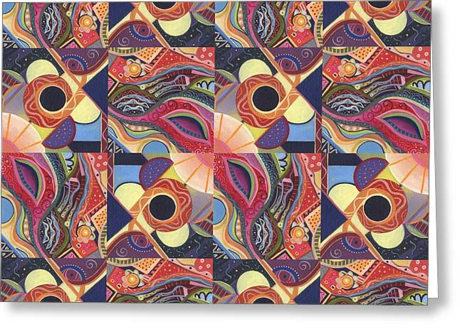 T J O D Tile Variations 15 Greeting Card by Helena Tiainen