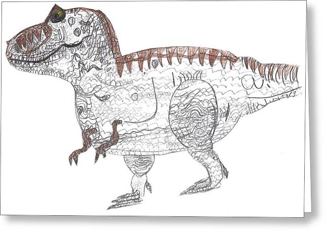 Greeting Card featuring the drawing T-rex by Fred Hanna