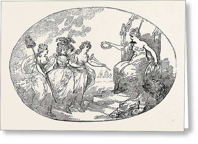 T. Rowlandson Liberty And Fame Introducing Female Greeting Card by English School