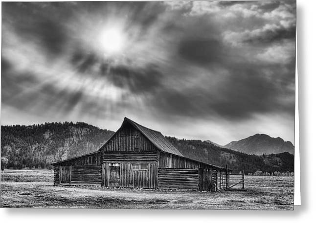 T.a. Moulton Barn - Black And White Greeting Card by Mark Kiver