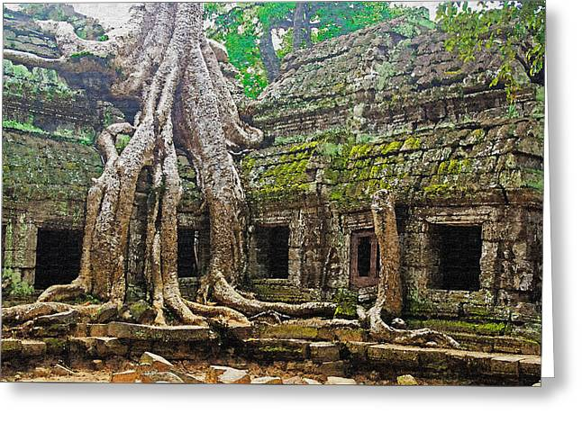Ta Prohm Temple Ruins Greeting Card by Dennis Cox